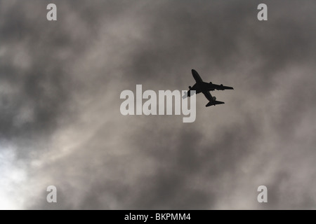 Boeing 747 in cloud. Can be used as concept photo representing blind navigation, flying on autopilot, or flight - Stock Photo