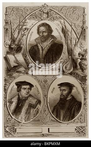 Philipp Melanchthon (1497-1560) - Martin Luther (1483-1546) - John Calvin (1509-1564). - Stock Photo