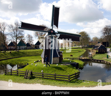 Windmill, Zuiderzee museum, Enkhuizen, Netherlands - Stock Photo