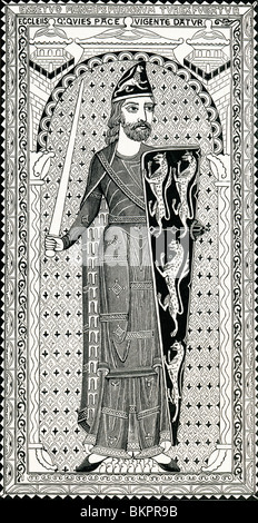 Effigy of Geoffrey Plantagenet, from his tomb at Le Mans. Geoffrey V, 1113 to 1151. - Stock Photo