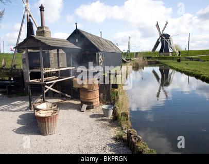 Windmill, smoking fish, Zuiderzee museum, Enkhuizen, Netherlands - Stock Photo