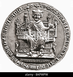 Great seal of Edward I, 1239 to 1307. Aka Edward Longshanks and the Hammer of the Scots. King of England. - Stock Photo