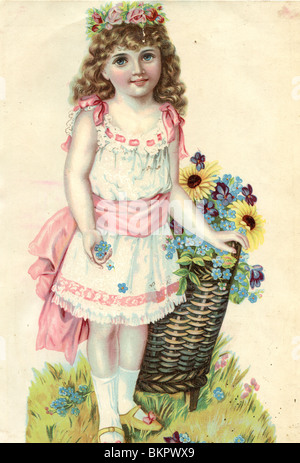 Young Girl with Floral Headress, Pulling a Basket of Flowers - Stock Photo