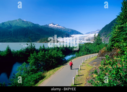 Visitor walks along path by Mendenhall Lake with Mendenhall Glacier in the distance, near Juneau, Southeast Alaska, - Stock Photo