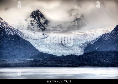 View of Grewingk Glacier flowing into Kachemak Bay, near Homer, Kenai Peninsula, Alaska, Spring - Stock Photo