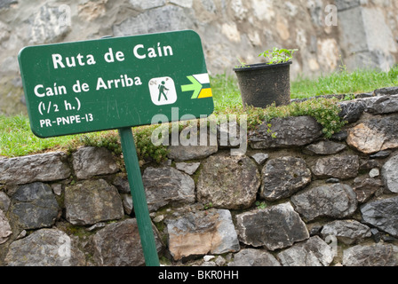 Sign in the village of Cain at the start of the Cares Gorge walk.  Picos de Europa, Northern Spain - Stock Photo