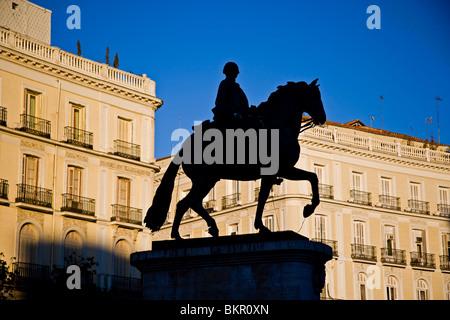 Statue of Carlos III in Puerta del Sol square. Madrid, Spain. - Stock Photo