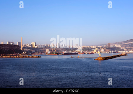 Algeria, Oran. Approaching the port of Oran by ferry. - Stock Photo