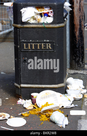 fast food and overflowing litter bin in Holywood County Down Northern Ireland UK - Stock Photo