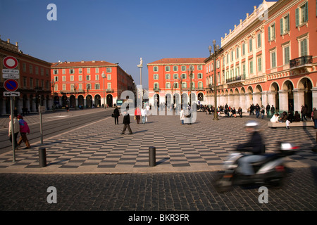France, Cote D'Azur, Nice; Place Massena, the city's main square where locals and visitors gather. - Stock Photo