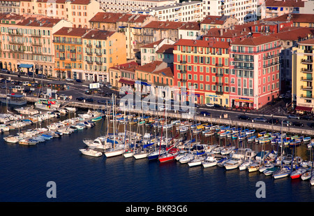 France, Cote D'Azur, Nice; Yachts in the Bassin du Commerce seen from the Parc du Chateau - Stock Photo