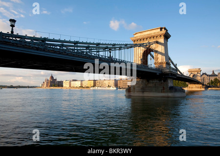 Hungary, Budapest. The Chain Bridge across the Danube was opened in 1849 - Stock Photo