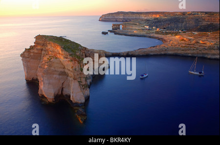 Malta, Gozo, Dwejra; 'Fungus Rock' Named so, because of the plant growing on it. - Stock Photo