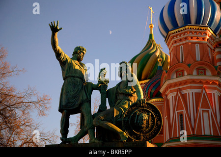 Russia, Moscow; The butcher Kuzma Minin & Prince Dmitry Podjarsky who led to expel the Poles from the Kremlin in - Stock Photo