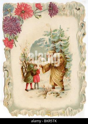 VICTORIAN CHRISTMAS CARD - Stock Photo
