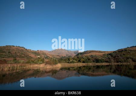 South Africa, KwaZulu Natal, Central uKahlamba Drakensberg mountain range. Early morning light marks the beginning - Stock Photo