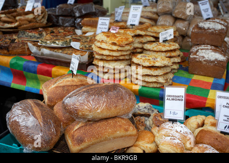 selection of breads on a bakery stall at an outdoor market Holywood County Down Northern Ireland UK - Stock Photo