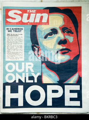Sun Newspaper May 6th 2010 supporting David Cameron in the May 7th 2010 General election. 'Our Only Hope' front - Stock Photo