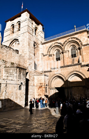 The church of the holy sepulchre in the old city of Jerusalem. - Stock Photo