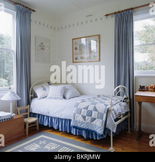 Blue Victorian Bedroom patchwork quilt and blue cushions on bed with upholstered