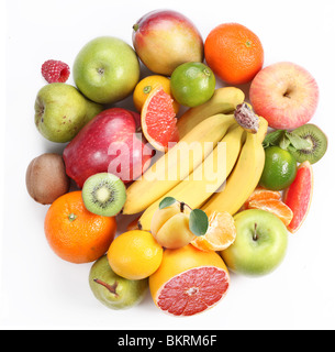 With fruit in the form of a circle. Isolated on white background - Stock Photo