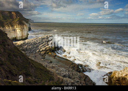 view from Thornwick Bay Flamborough with Amphitheatre, East Yorkshire, England - Stock Photo