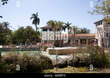 Renovating the Venetian Pool, Coral Gables Miami Florida - Stock Photo