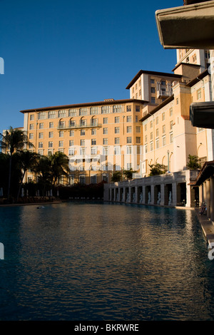 Diving platorms at the side of the largest hotel pool in the continental United States, Hotel Biltmore, Coral Gables - Stock Photo