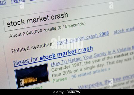 stock market crash news updates screen - Stock Photo