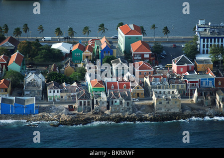 Curacao, aerial view ruins of hostorical buildings in Willemstad - Stock Photo