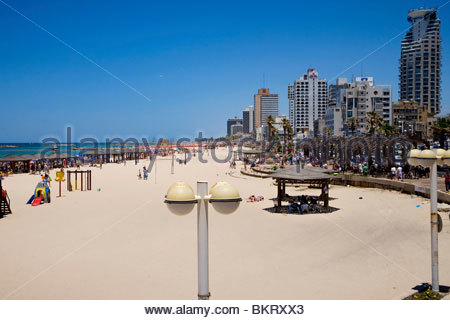 beach,Tel Aviv,Israel,Middle East,Asia - Stock Photo