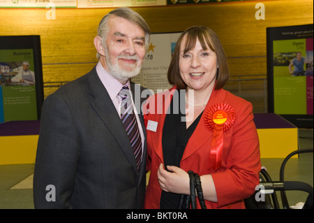 Winning Labour Party candidate in Newport West Paul Flynn with his wife Sam at election night count in Newport South - Stock Photo