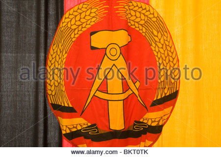flag of the GDR,the Stasi secret center in the time of the GDR,the Stasi Museum,Berlin,Germany - Stock Photo