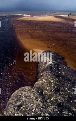 Darkly tannin-stained river running over the sands of Bramston Beach, north Queensland, Australia - Stock Photo