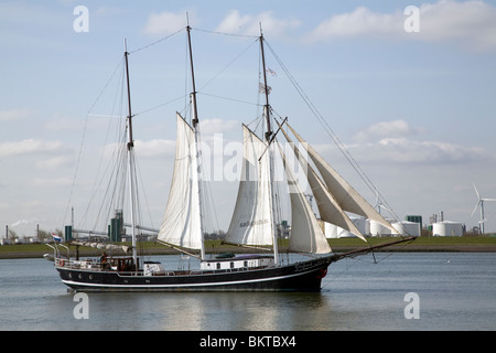 Sailing ship, Nieuwe Waterweg, ship canal between Maasluis and Hook of Holland, Netherlands - Stock Photo