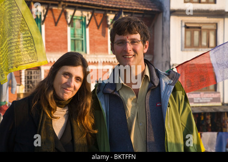 CHRISTINE KOLISCH and her son BODHI GARRETT - BODHANATH STUPA, KATMANDU, NEPAL - Stock Photo