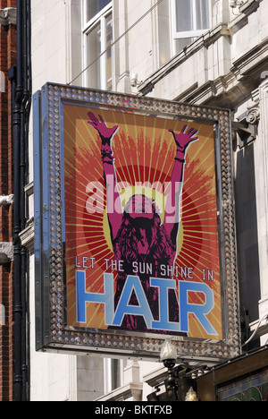 Hair Musical Sign at the Gielgud Theatre, Shaftesbury Avenue, London, England UK - Stock Photo
