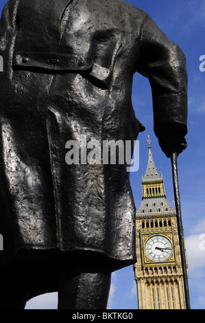 Statue of Sir Winston Churchill and Big Ben, Parliament square, London, England, UK - Stock Photo