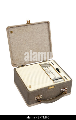 Vintage 1950's Ferranti portable early transistor radio, isolated on white background - Stock Photo
