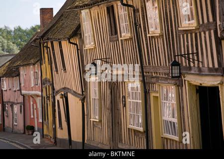 Timber frame buildings on Water Street Lavenham - Stock Photo