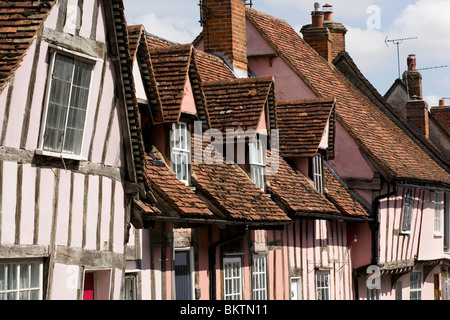 Roof details of a row of medieval houses in Lavenham, Suffolk. - Stock Photo
