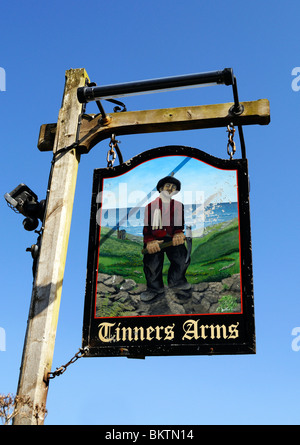 the ' tinners arms ' pub sign, at zennor, in cornwall, uk - Stock Photo