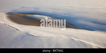 pool of melted water and ice on solid sea ice - Stock Photo