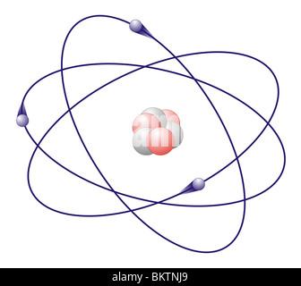 lithium atom colorcode atomic nucleus red=proton, white=neutron, electron shell blue=electron - Stock Photo