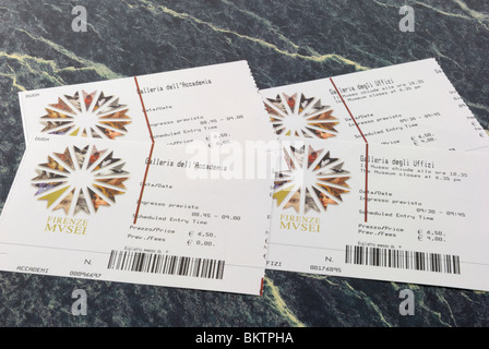 Two entrance tickets to two Florence's most famous galleries, the Galleria dell Accademia and the Galleria degli - Stock Photo