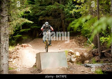 Downhill Mountain Biking in the World Famous Whistler Bike Park - Stock Photo