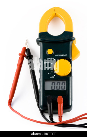 Close-up image of an electrical meter set to meter ohm's - Stock Photo