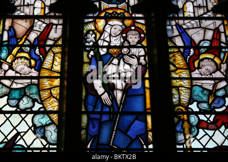 Stained Glass Window In The Church of Our Lady and Saint Nicholas,  Liverpool, UK - Stock Photo