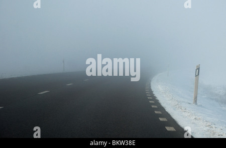 Wide road in winter - Stock Photo