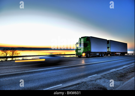 Long-distance lorry against sky